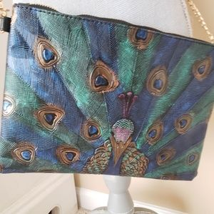 Handbags - Hand painted vegan leather peacock crossbody bag